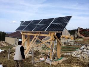 Panneau solaire sur support bois