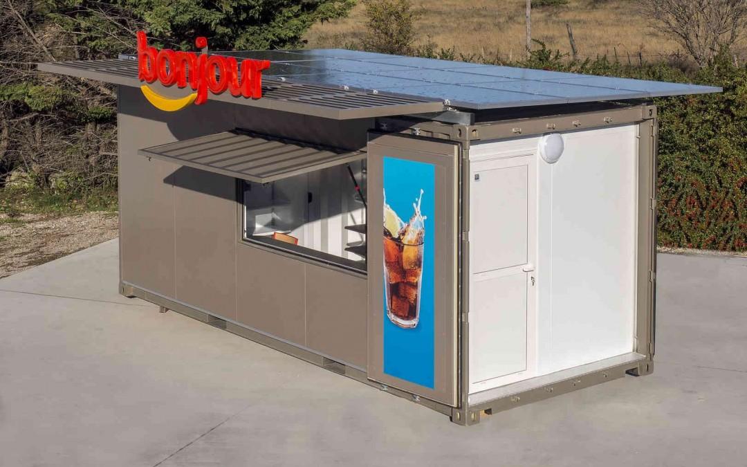 Container solaire autonome pour une station-service