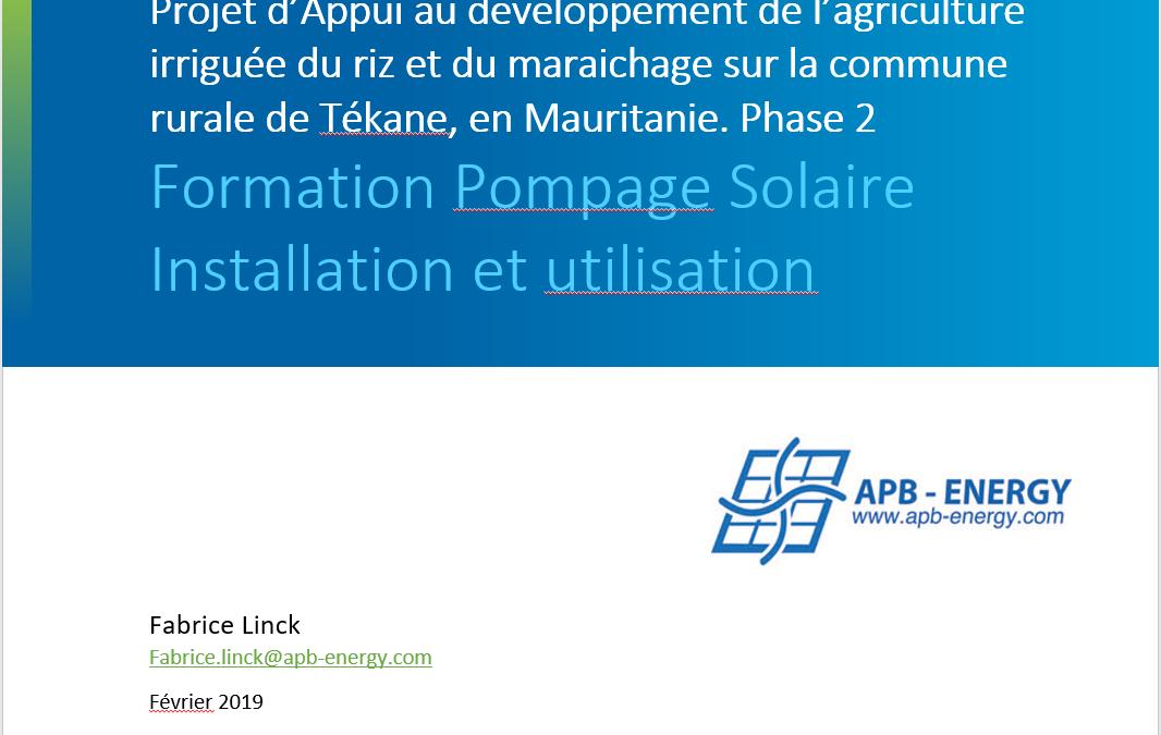Formation au pompage solaire à Nouakchott en Mauritanie